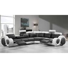 renaissance black white leather l shaped sofa with rounded