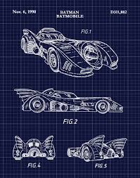 batman car drawing patent 1990 batman batmobile art print poster print wall art