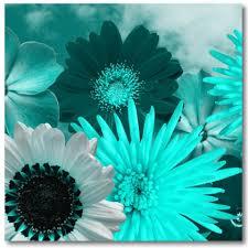 teal flowers teal canvas artwork modern prints of flowers