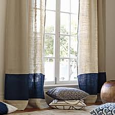 Blue Burlap Curtains Color Block Window Panel Navy Serena Interior