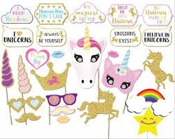 birthday party supplies 26pcs glitter unicorn photo booth props girl birthday party
