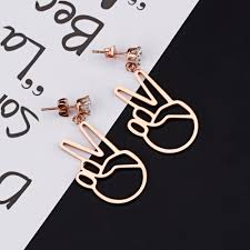 icings earrings v sign dangle earrings two finger victory sign peace sign earrings