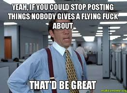 Who Gives A Shit Meme - yeah if you could stop posting things nobody gives a flying fuck