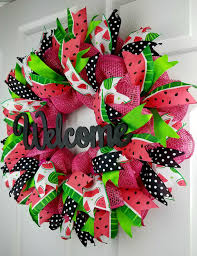 geo mesh wreath watermelon deco mesh wreath summer burlap deco mesh wreath welcome