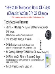 1998 2002 clk 430 diy oil chnage pdf vehicle technology