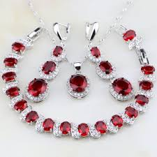 red necklace earrings set images Red created oval ruby 925 sterling silver jewelry set jpg
