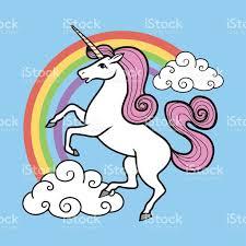 cartoon unicorn with rainbow and clouds stock vector art 494879646