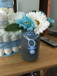 jar baby shower centerpieces finished jar centerpiece for boy baby shower my diys