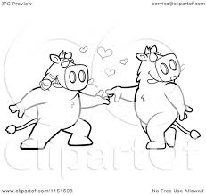 cartoon clipart of a black and white boar couple doing a romantic