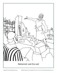 Nehemiah Coloring Page nehemiah and the wall coloring page children s bible activities