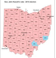 Ohio Map Counties by John Kasich Won 70 Percent Of Vote In 47 Counties In 2014 Ohio