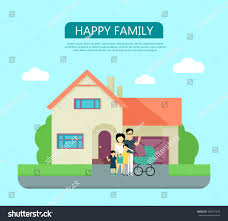 Their Home by Happy Family Yard Their House Home Stock Vector 490571974