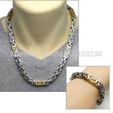 2015 men s jewelry 8mm 60cm new arrival 2015 best sale gold silver square link chain necklace bracelet set