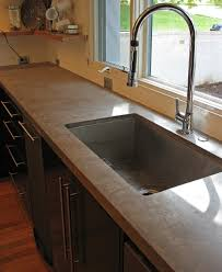 traditional kitchen with natural concrete kitchen countertops