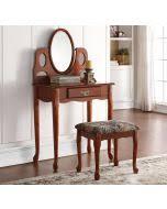 Oak Vanity Table Acme 06540 3pcs Ashton Vanity Set In Oak Finish Bench Mirror