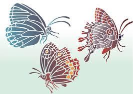 three butterflies stencil designs from stencil kingdom