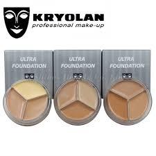 kryolan 3 color make up concealer paleta de corretivo foundation contour palete water proof