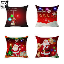 light up xmas pictures peiyuan merry christmas led light up glowing santa claus red cushion