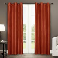 Orange And Brown Curtains Exclusive Home Curtains Dupioni Faux Silk Grommet Top