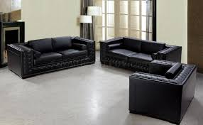 3 Pc Living Room Set Dublin Bt0697 Vig Top Grain Italian Leather Living Room Set Black