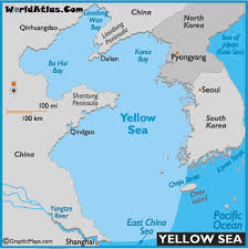 the sea map yellow sea map and map of the yellow sea size depth history