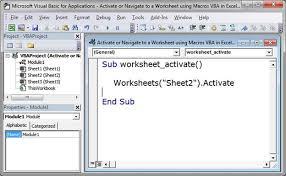 activate or navigate to a worksheet using macros vba in excel