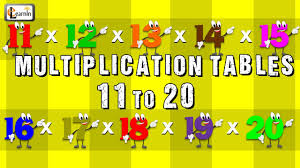 Times Tables 1 12 Multiplication Tables 11 To 20 Multiplication Songs For Children