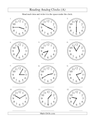 measurement worksheet reading time on an analog clock in 5