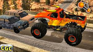 monster truck crash videos youtube monster truck high speed jumps crashes beamng drive 1 youtube