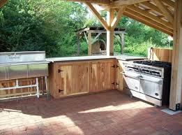 outdoors country outdoor kitchen kits with wooden cabinet and