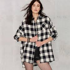 Black And White Plaid Shirt Womens Compare Prices On Black White Plaid Loose Long Blouses Check Shirt