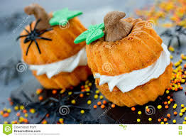 thanksgiving day cupcakes pumpkin cupcakes for halloween or thanksgiving stock photo image