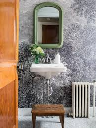 How To Hang A Bathroom Mirror by How To Install Wallpaper In A Bathroom Hgtv
