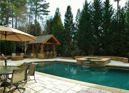 Fire Pit Gazebo by Craftsman Swimming Pool With Exterior Stone Floors U0026 Fire Pit In