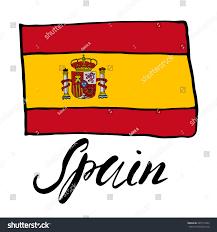 hand drawn sketch flag spain vector stock vector 345715304