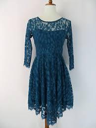 free people floral mesh lace dress size 2 turquoise blue 3 4