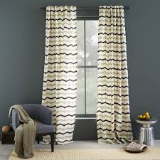 cotton printed curtain dotted chevron west elm