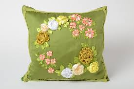 satin ribbon flowers madeheart green handmade pillow with volume satin ribbon