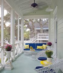 pretty sunbrella furniture in porch beach style with screen porch
