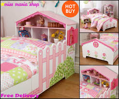 Furniture Kids Bedroom Girls Pink Single Bed Dollhouse Storage Toddler Kids Bedroom