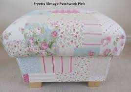 Shabby Chic Footstool by Fryetts Vintage Patchwork Pink Fabric Footstool Pouffe Shabby Chic
