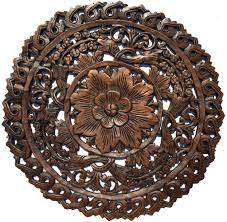 home decor plaques oriental round carved wood wall decor decorative floral wall