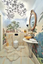 lovely hand painted wallpaper murals with free standing sink fk