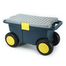 Plastic Tool Storage Containers - removable garden tool cart seat 4 wheels plastic tools storage