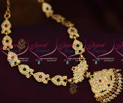 indian metal necklace images Nl8831 multi colour ad stones south indian traditional handmade JPG