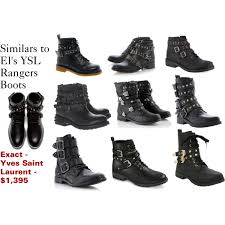 target s leather boots similars to el s ysl rangers boots polyvore