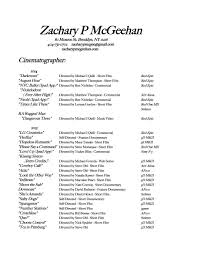 Ballet Resume Resume Zack M Cinematography
