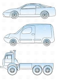 sketch of sport car truck and commercial car vector clipart image