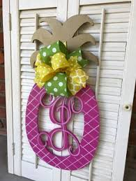 Door Monogram Decoration Gold Pineapple Monogram Fall Door Hanger Summer Teal Decor