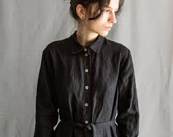 black linen dress etsy